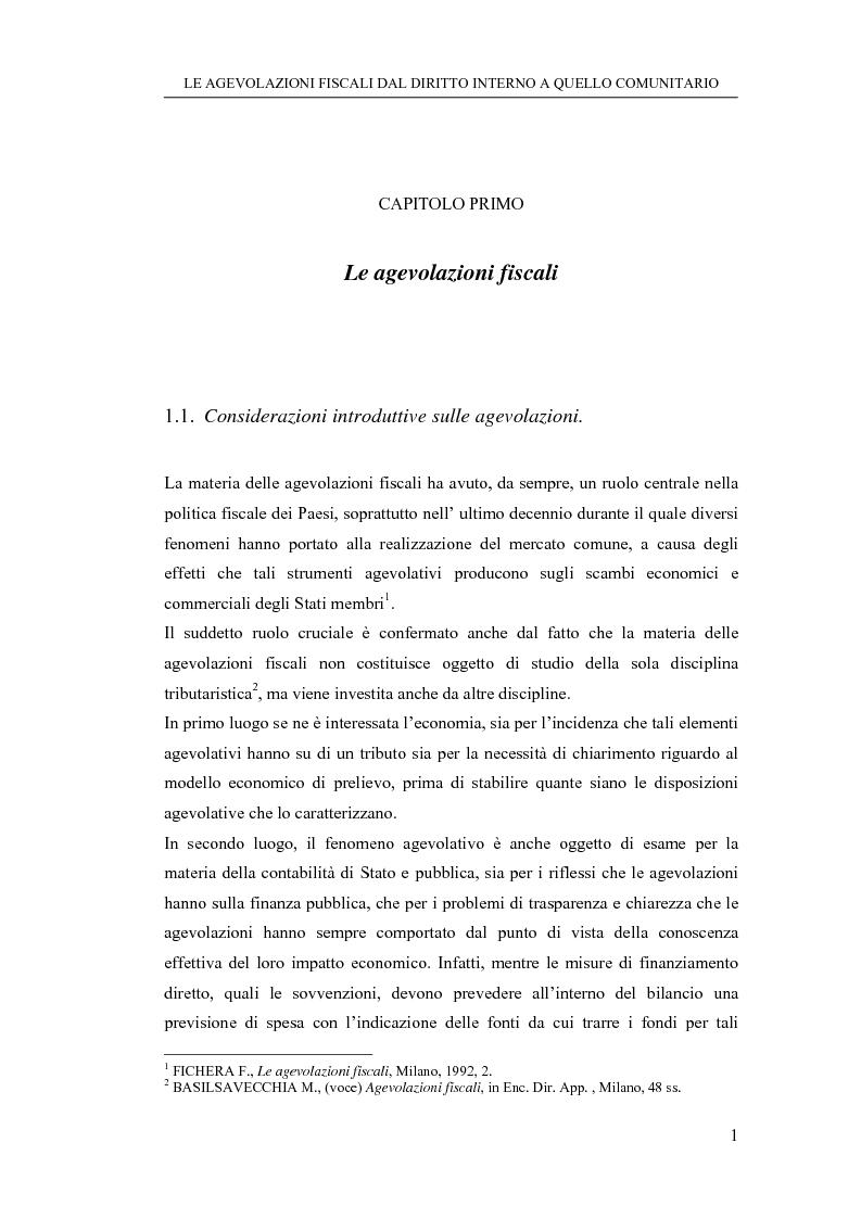 Anteprima della tesi: Le agevolazioni fiscali dal diritto interno a quello comunitario. Il caso degli spin off accademici, Pagina 1
