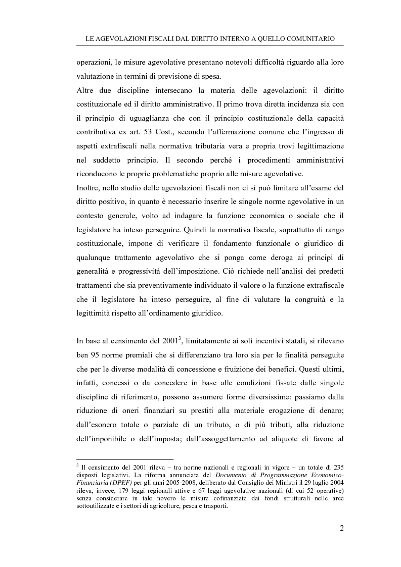 Anteprima della tesi: Le agevolazioni fiscali dal diritto interno a quello comunitario. Il caso degli spin off accademici, Pagina 2