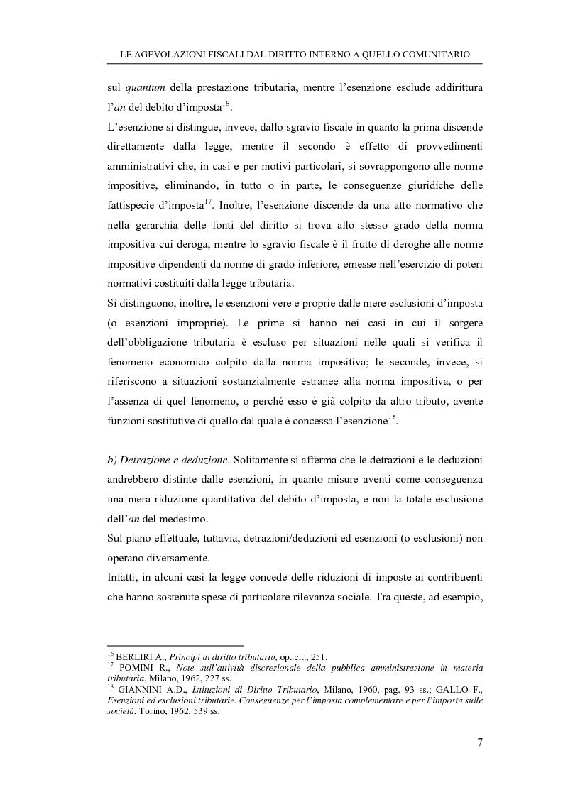 Anteprima della tesi: Le agevolazioni fiscali dal diritto interno a quello comunitario. Il caso degli spin off accademici, Pagina 7