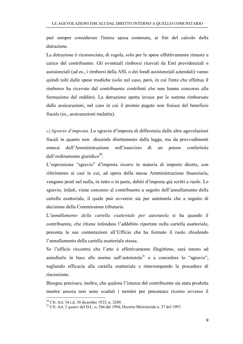 Anteprima della tesi: Le agevolazioni fiscali dal diritto interno a quello comunitario. Il caso degli spin off accademici, Pagina 9