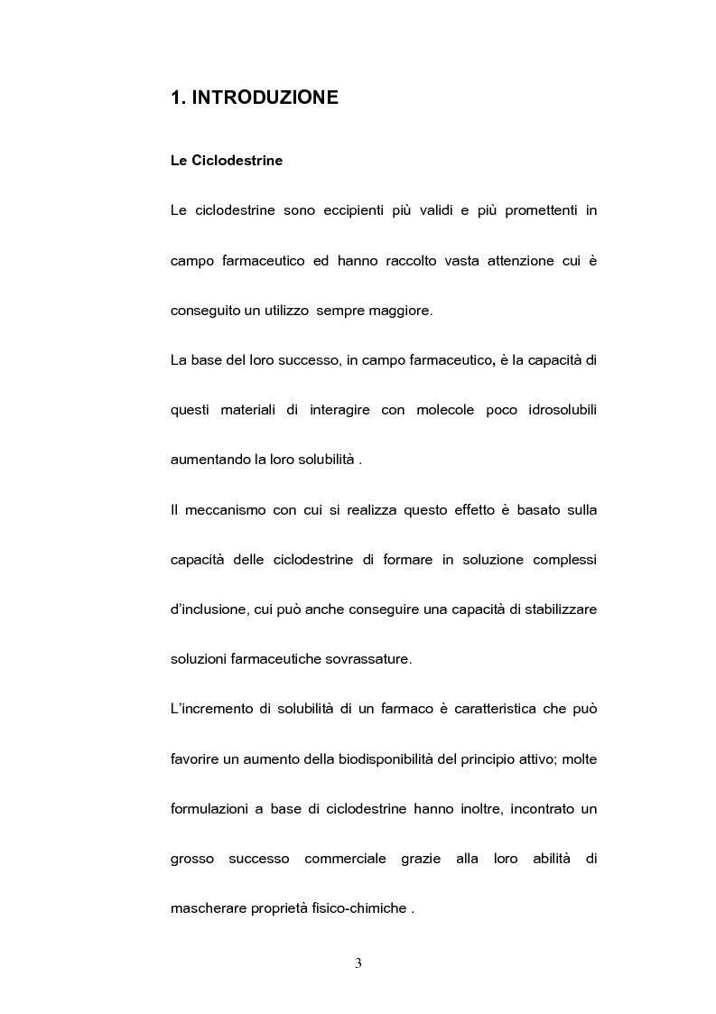 Anteprima della tesi: Impiego delle ciclodestrine in campo farmaceutico: applicazioni attuali e prospettive future, Pagina 1