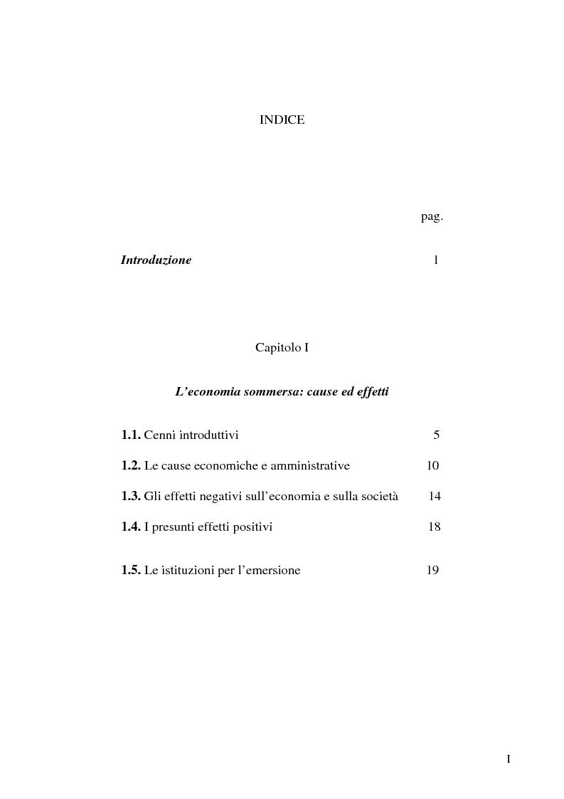 Anteprima della tesi: Dimensioni e caratteristiche dell'economia sommersa, Pagina 1
