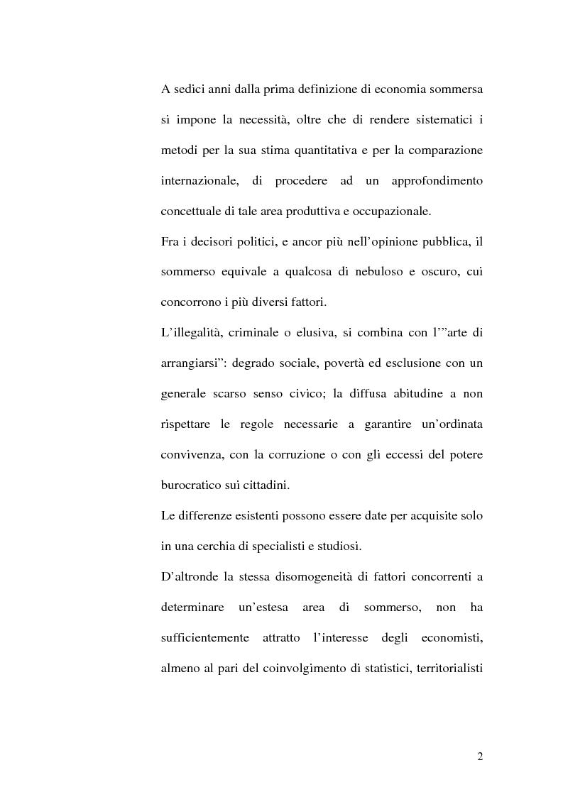 Anteprima della tesi: Dimensioni e caratteristiche dell'economia sommersa, Pagina 5