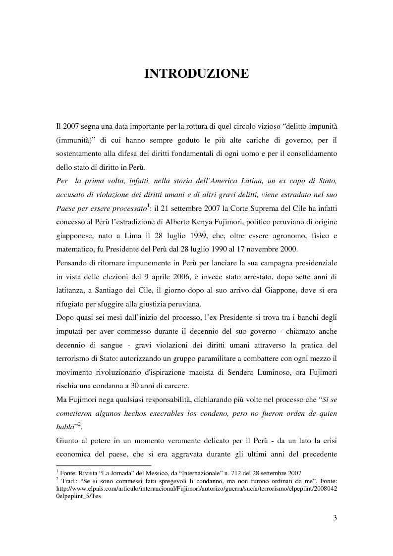 Anteprima della tesi: Processo a Fujimori. Dieci anni di dittatura, corruzione e violazione dei diritti umani., Pagina 1