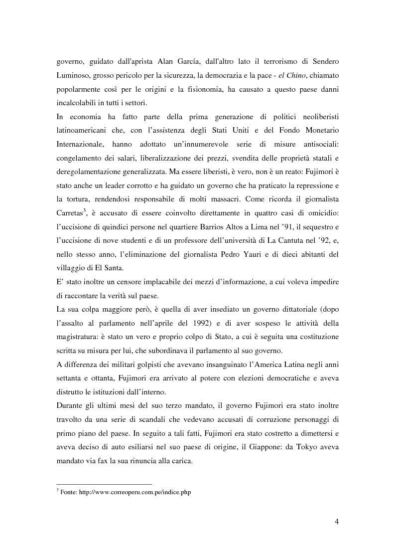 Anteprima della tesi: Processo a Fujimori. Dieci anni di dittatura, corruzione e violazione dei diritti umani., Pagina 2