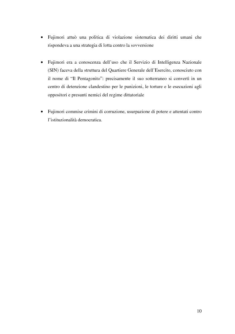 Anteprima della tesi: Processo a Fujimori. Dieci anni di dittatura, corruzione e violazione dei diritti umani., Pagina 8