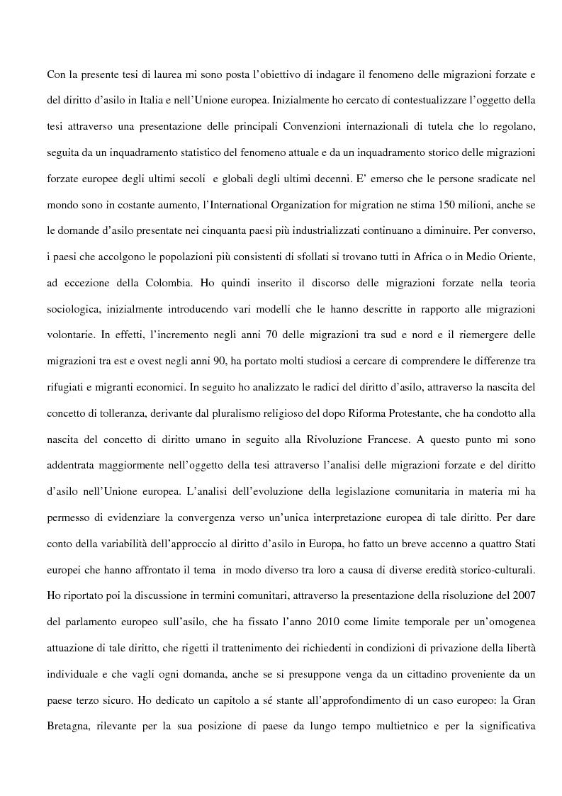 Anteprima della tesi: Sociologia delle migrazioni forzate e del diritto d'asilo in Italia e nell'Unione europea, Pagina 1