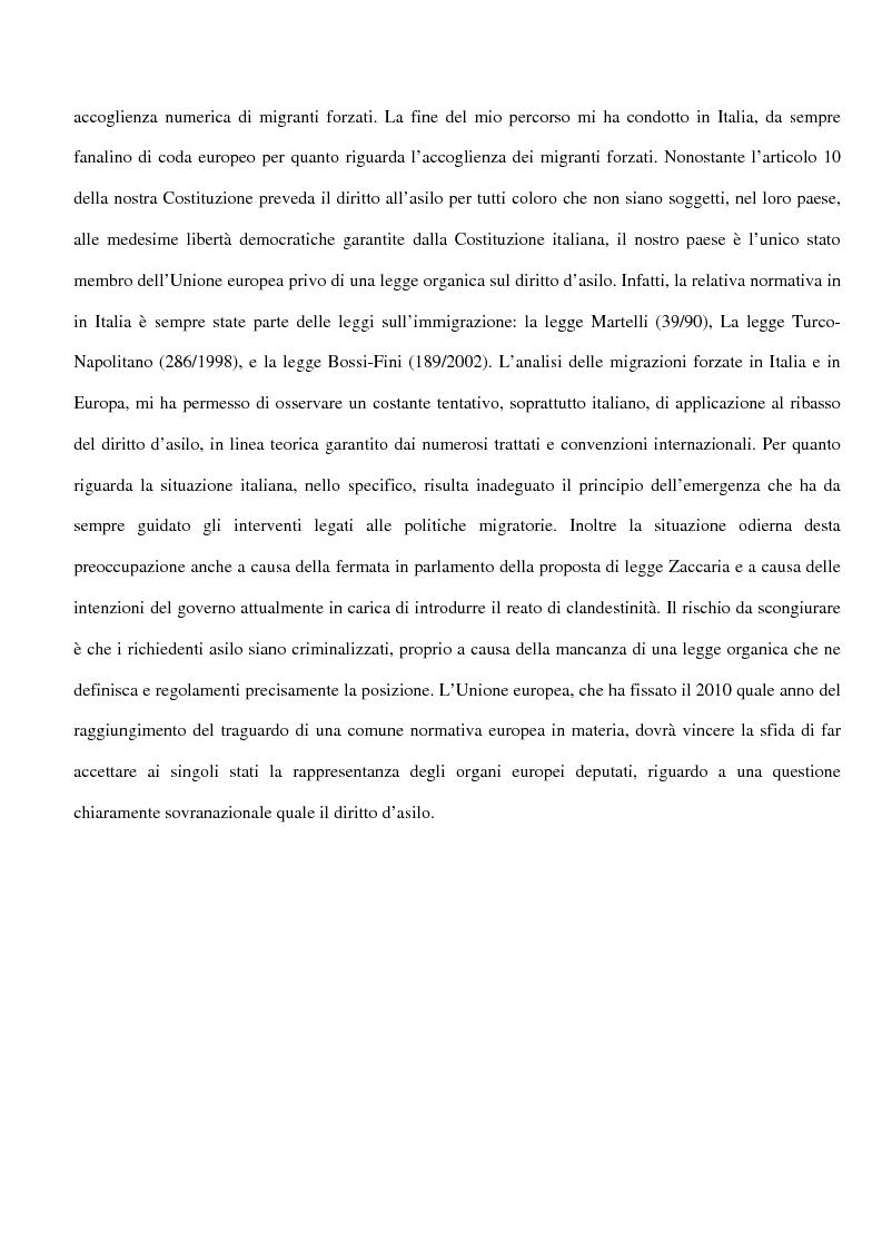 Anteprima della tesi: Sociologia delle migrazioni forzate e del diritto d'asilo in Italia e nell'Unione europea, Pagina 2