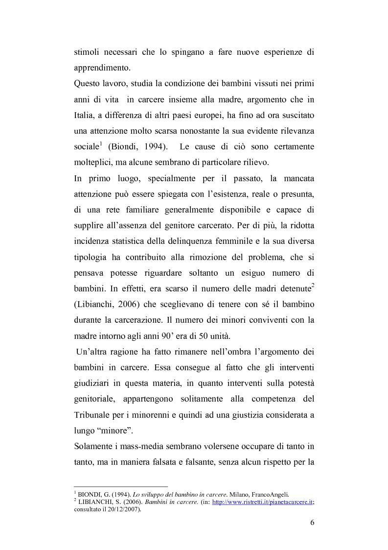 Anteprima della tesi: Lo sviluppo del bambino che vive con la madre detenuta, Pagina 3