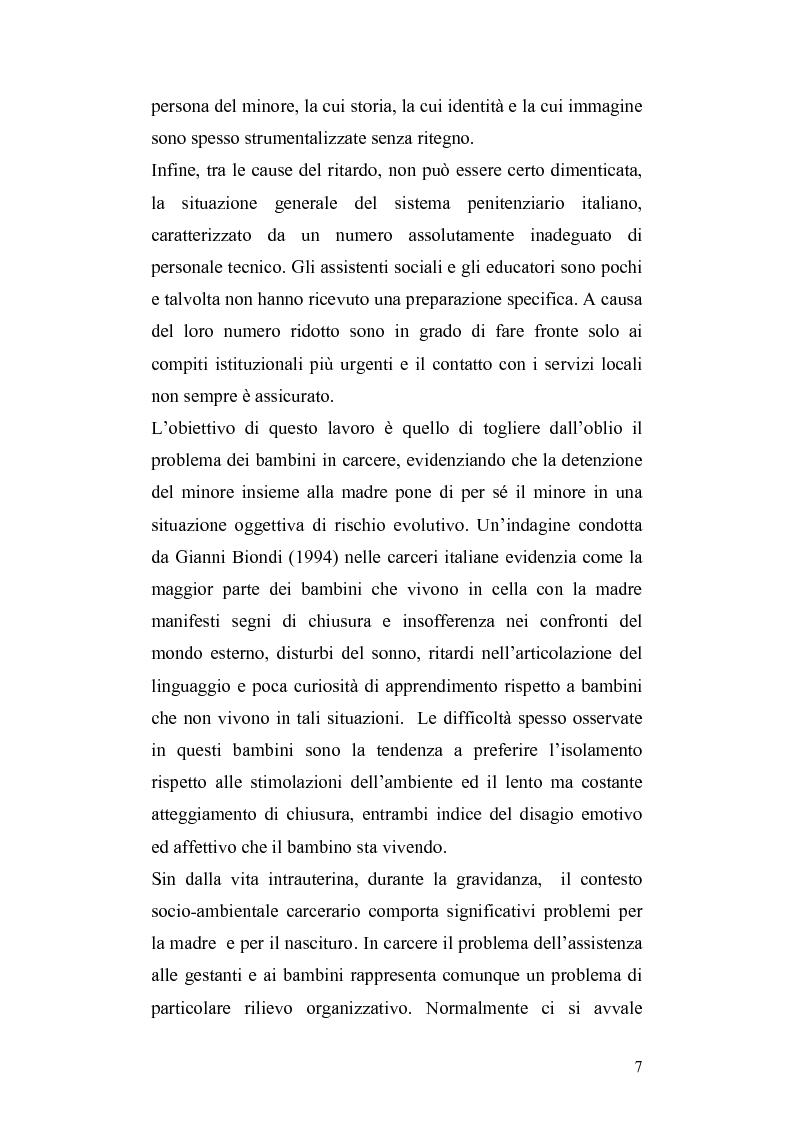 Anteprima della tesi: Lo sviluppo del bambino che vive con la madre detenuta, Pagina 4