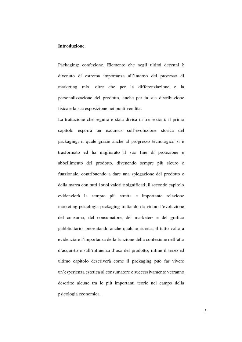 Anteprima della tesi: Aspetti psicologici sulla costruzione e fruizione del packaging, Pagina 1