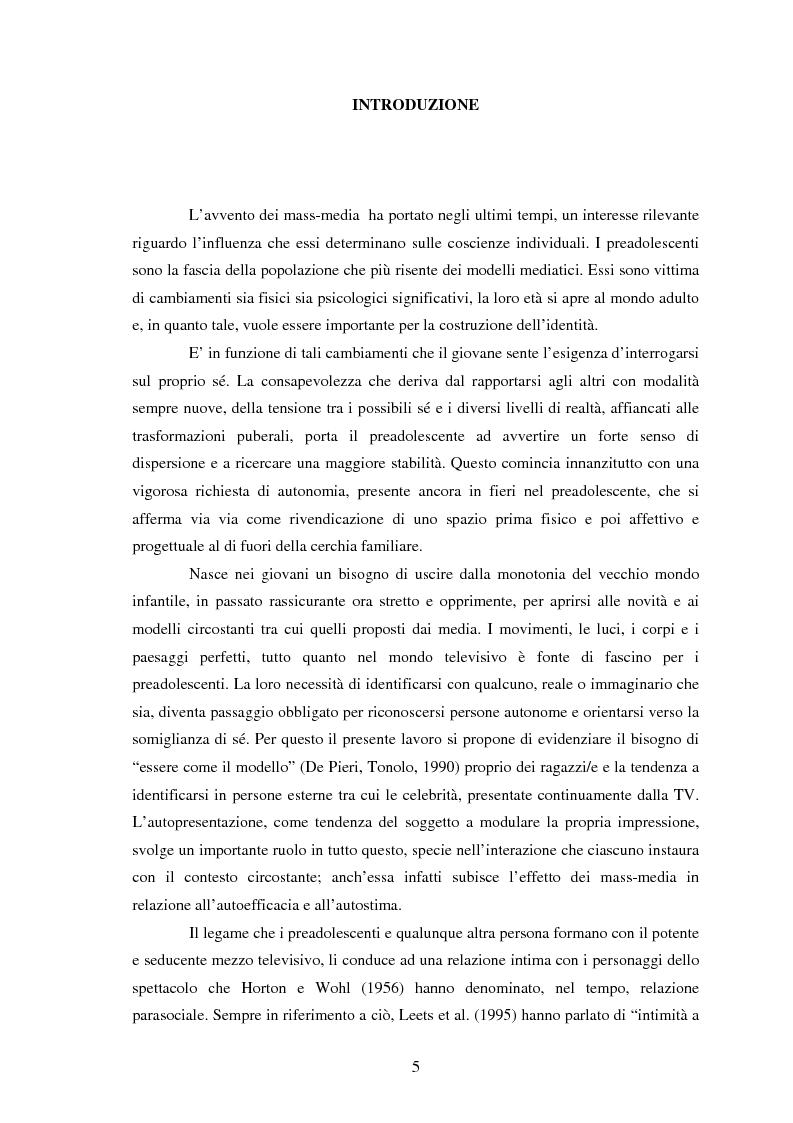 Anteprima della tesi: Modelli identificativi proposti in TV e autopresentazione in preadolescenza, Pagina 1