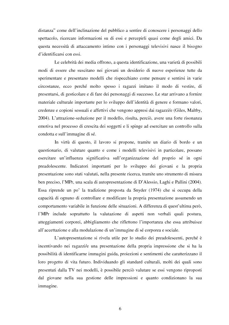 Anteprima della tesi: Modelli identificativi proposti in TV e autopresentazione in preadolescenza, Pagina 2