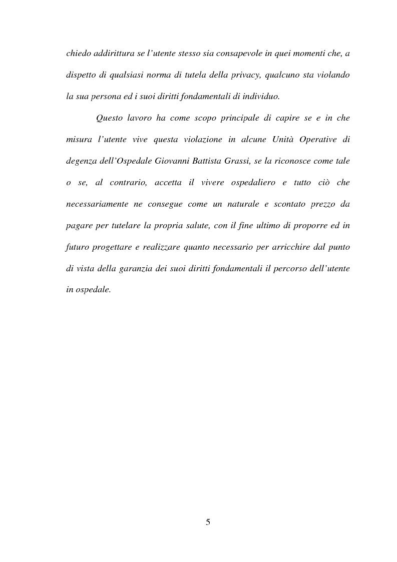 Anteprima della tesi: La tutela della privacy in sanità: indagine conoscitiva sulla percezione della privacy in alcune Unità Operative di degenza dell'Ospedale Giovanni Battista Grassi, Pagina 3
