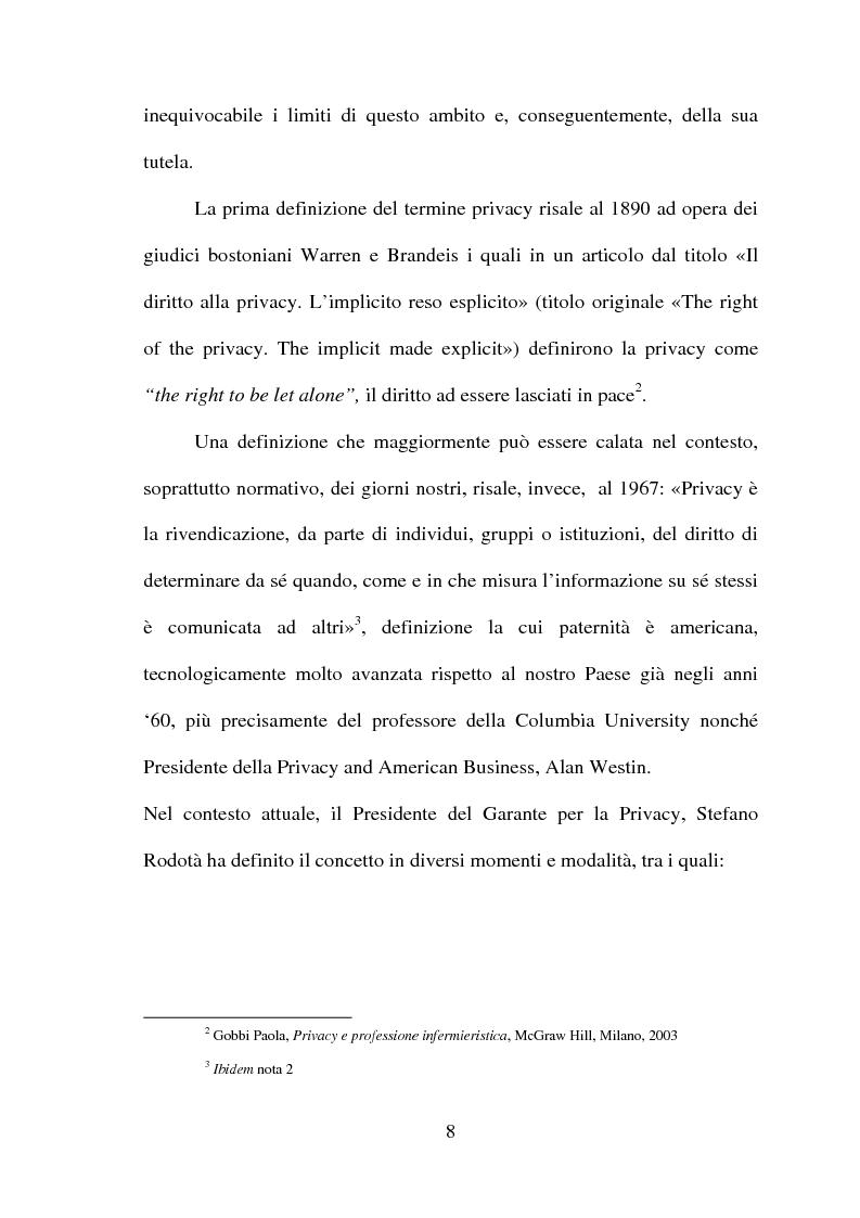 Anteprima della tesi: La tutela della privacy in sanità: indagine conoscitiva sulla percezione della privacy in alcune Unità Operative di degenza dell'Ospedale Giovanni Battista Grassi, Pagina 6