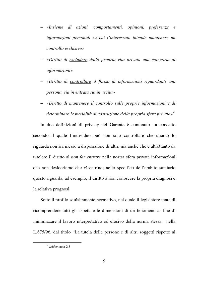 Anteprima della tesi: La tutela della privacy in sanità: indagine conoscitiva sulla percezione della privacy in alcune Unità Operative di degenza dell'Ospedale Giovanni Battista Grassi, Pagina 7