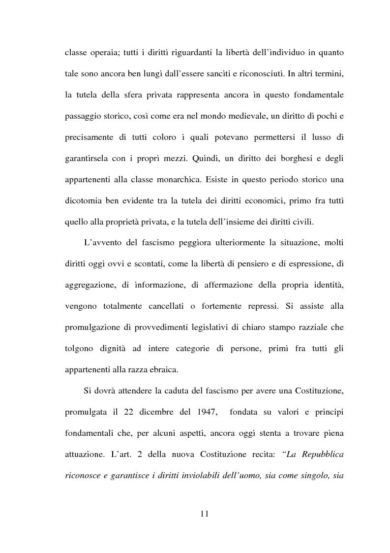 Anteprima della tesi: La tutela della privacy in sanità: indagine conoscitiva sulla percezione della privacy in alcune Unità Operative di degenza dell'Ospedale Giovanni Battista Grassi, Pagina 9