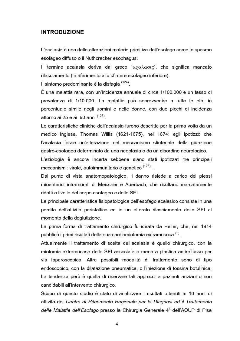 Anteprima della tesi: Miotomia extramucosa secondo Heller e fundoplicatio anteriore secondo Dor per via laparoscopica nel trattamento dell'acalasia esofagea: 10 anni di esperienza, Pagina 1