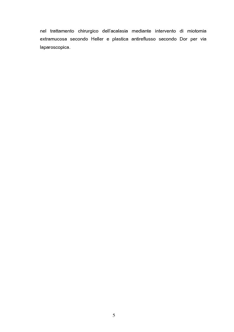 Anteprima della tesi: Miotomia extramucosa secondo Heller e fundoplicatio anteriore secondo Dor per via laparoscopica nel trattamento dell'acalasia esofagea: 10 anni di esperienza, Pagina 2