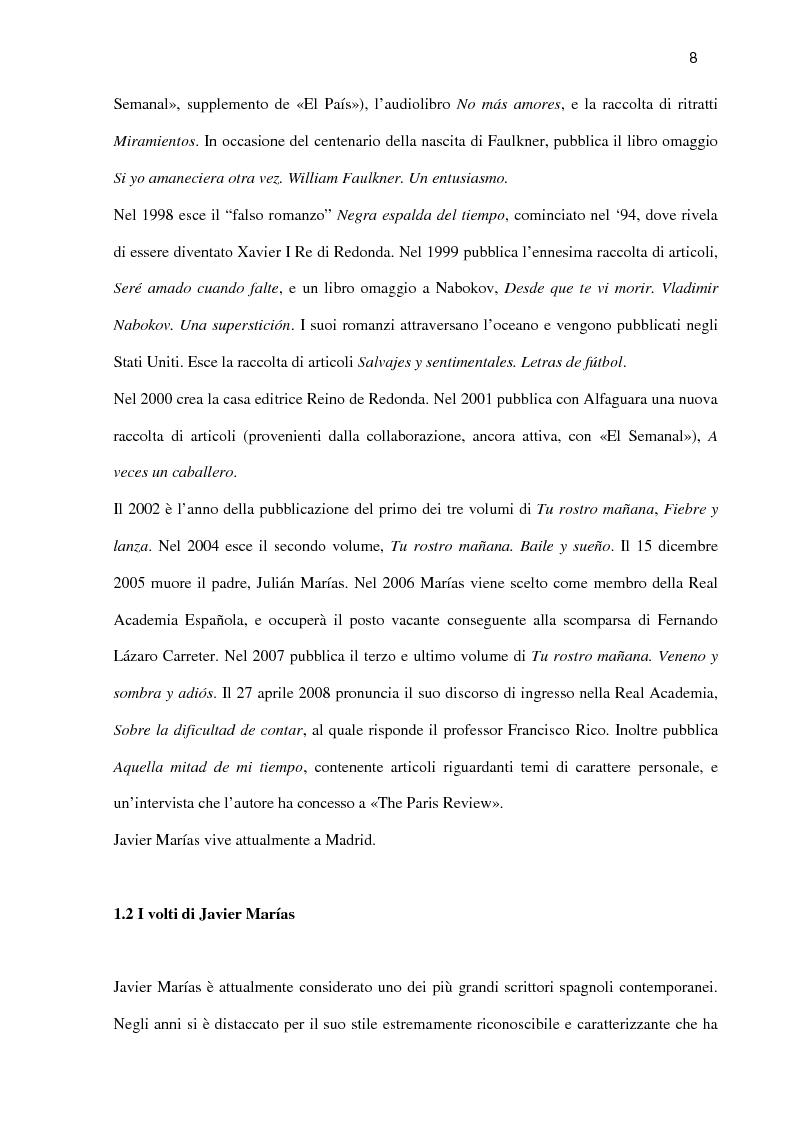 Anteprima della tesi: ''Tu rostro mañana'' di Javier Marías: la violenza dello sguardo, Pagina 3