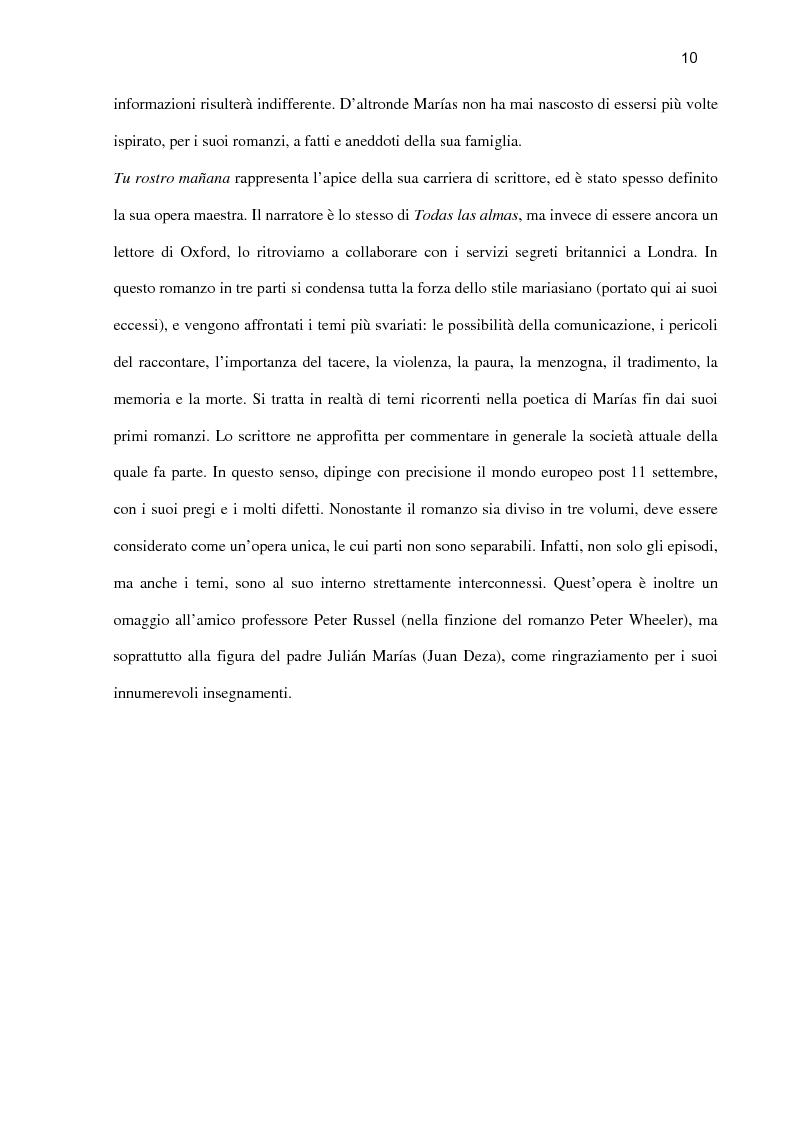 Anteprima della tesi: ''Tu rostro mañana'' di Javier Marías: la violenza dello sguardo, Pagina 5