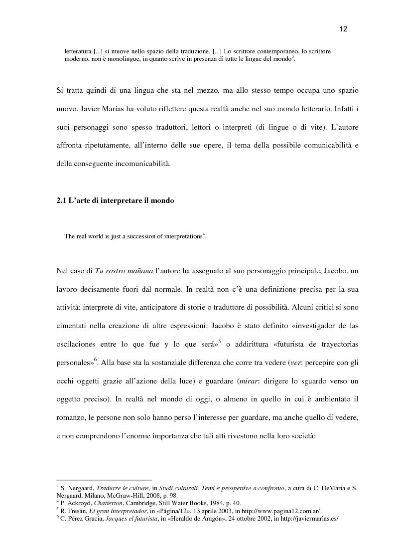Anteprima della tesi: ''Tu rostro mañana'' di Javier Marías: la violenza dello sguardo, Pagina 7