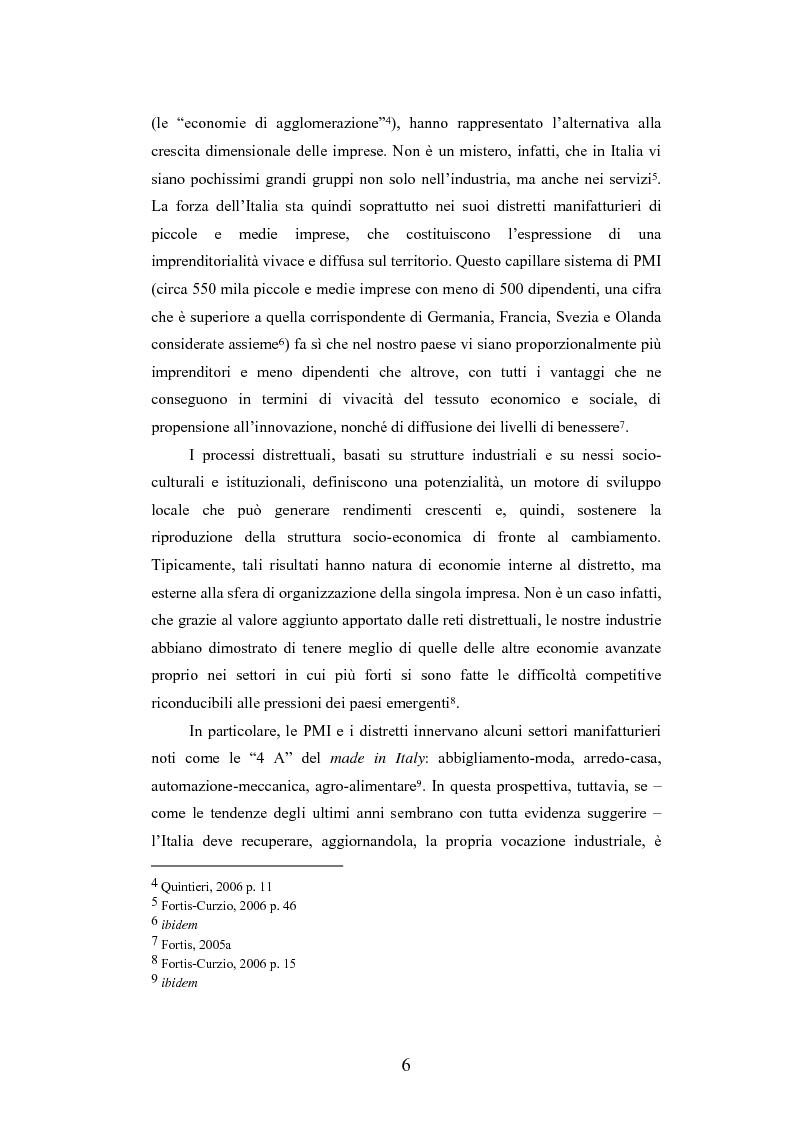 Anteprima della tesi: I distretti industriali della moda tra localismo e outsourcing: i casi dei distretti della calzatura di S. Mauro Pascoli e dello Sportsystem di Montebelluna, Pagina 6