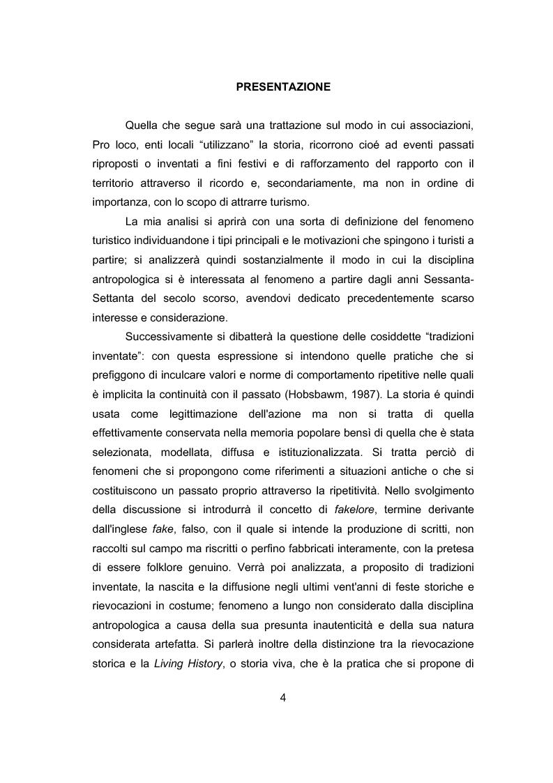 Anteprima della tesi: La storia per far festa: rievocazioni storiche e turismo, Pagina 1