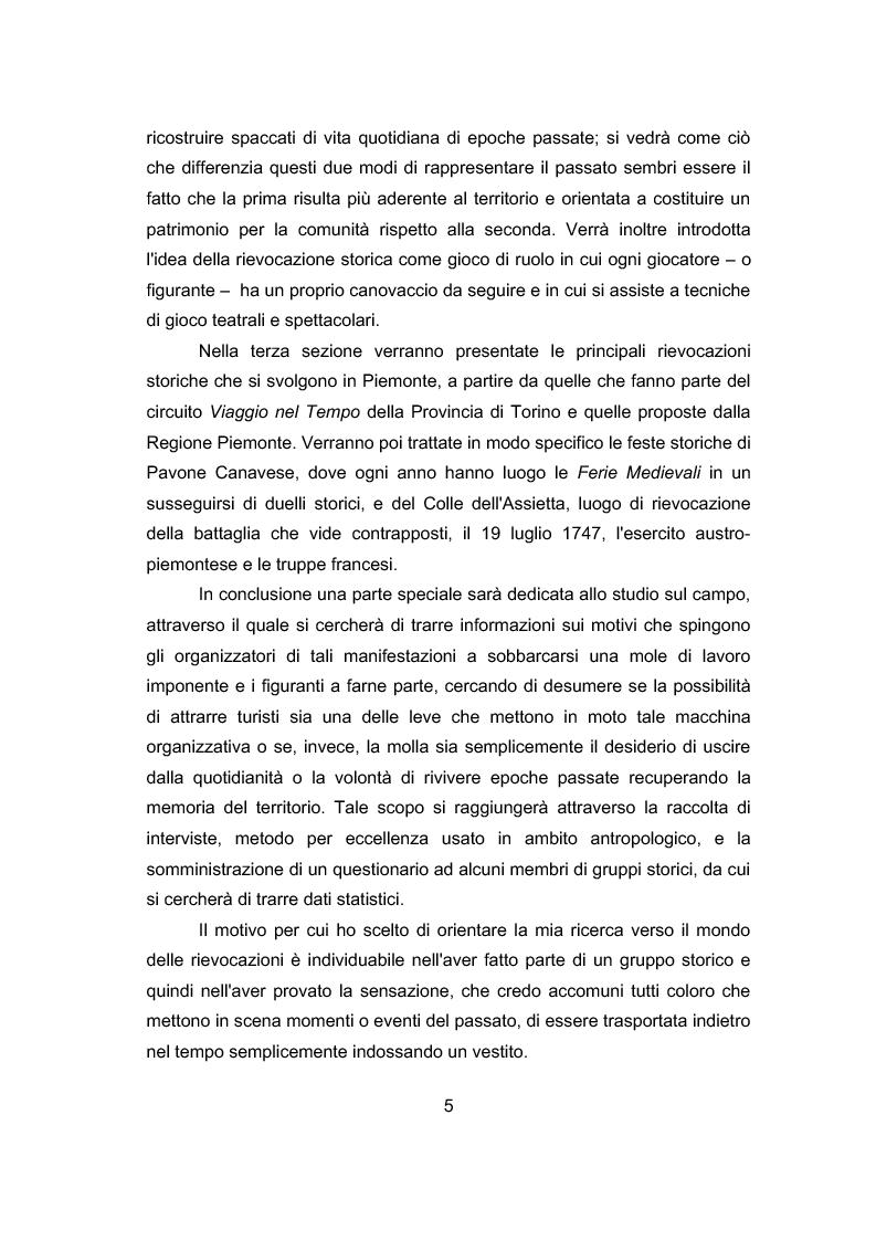 Anteprima della tesi: La storia per far festa: rievocazioni storiche e turismo, Pagina 2