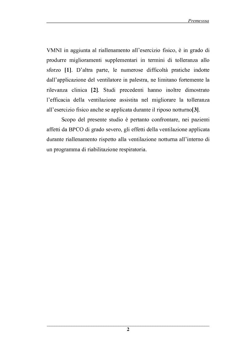 Anteprima della tesi: Effetti della ventilazione assistita non invasiva nella riabilitazione respiratoria di pazienti affetti da Broncopneumopatia Cronica Ostruttiva, Pagina 2