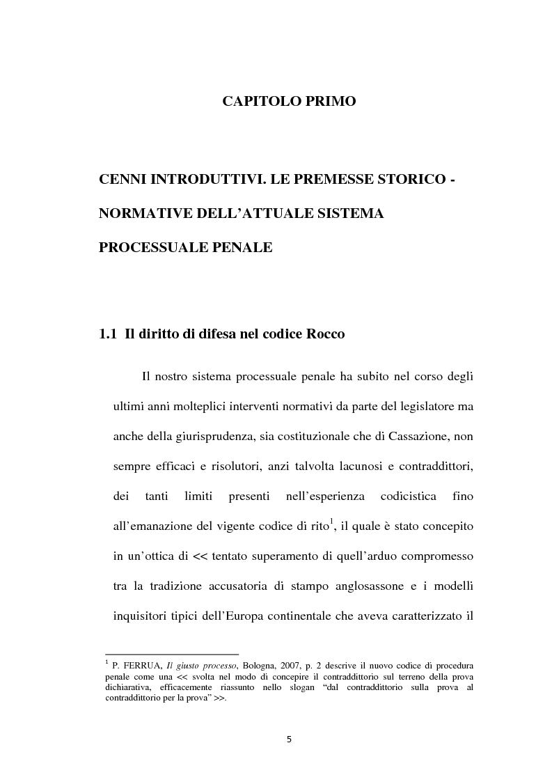 Anteprima della tesi: Il principio di parità tra accusa e difesa. Il diritto di difendersi dopo la legge 397/2000, Pagina 1