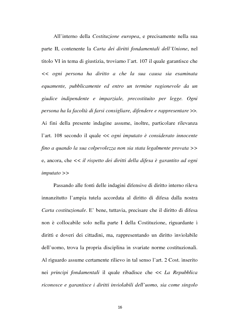 Anteprima della tesi: Il principio di parità tra accusa e difesa. Il diritto di difendersi dopo la legge 397/2000, Pagina 12