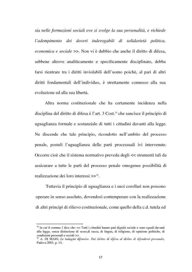 Anteprima della tesi: Il principio di parità tra accusa e difesa. Il diritto di difendersi dopo la legge 397/2000, Pagina 13
