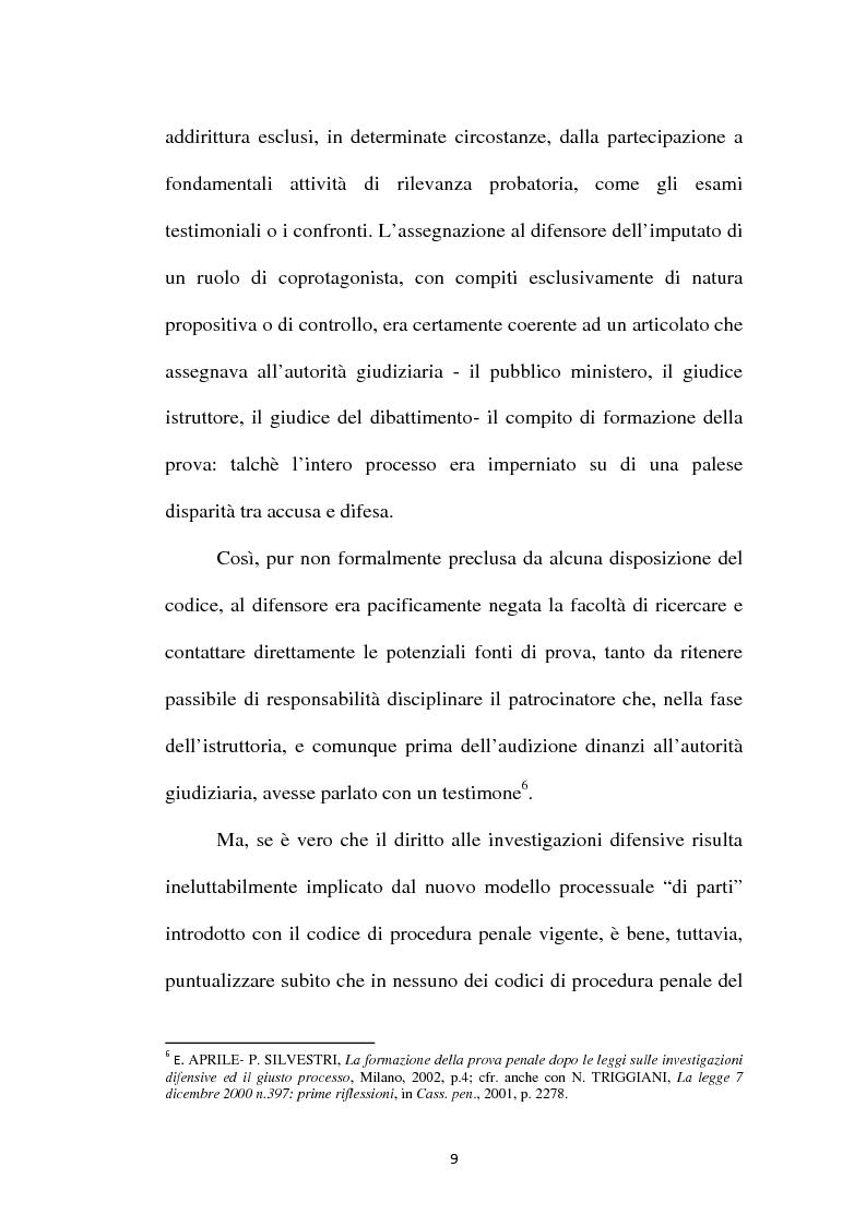 Anteprima della tesi: Il principio di parità tra accusa e difesa. Il diritto di difendersi dopo la legge 397/2000, Pagina 5