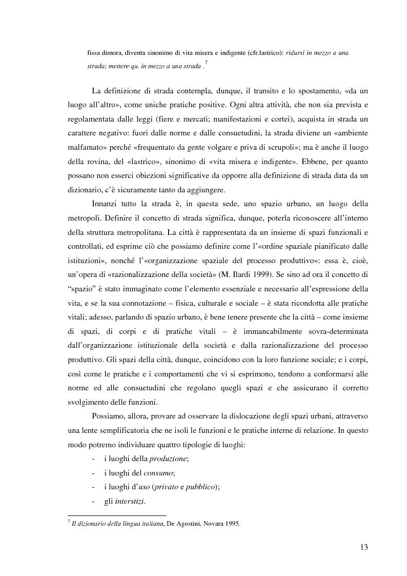 Anteprima della tesi: Vita di strada e cultura della precarietà, Pagina 11