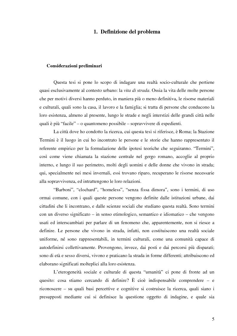 Anteprima della tesi: Vita di strada e cultura della precarietà, Pagina 3