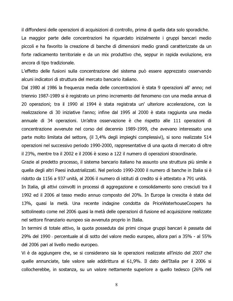 Anteprima della tesi: Il processo di concentrazione bancaria in Italia. Il caso Antonveneta, Pagina 4