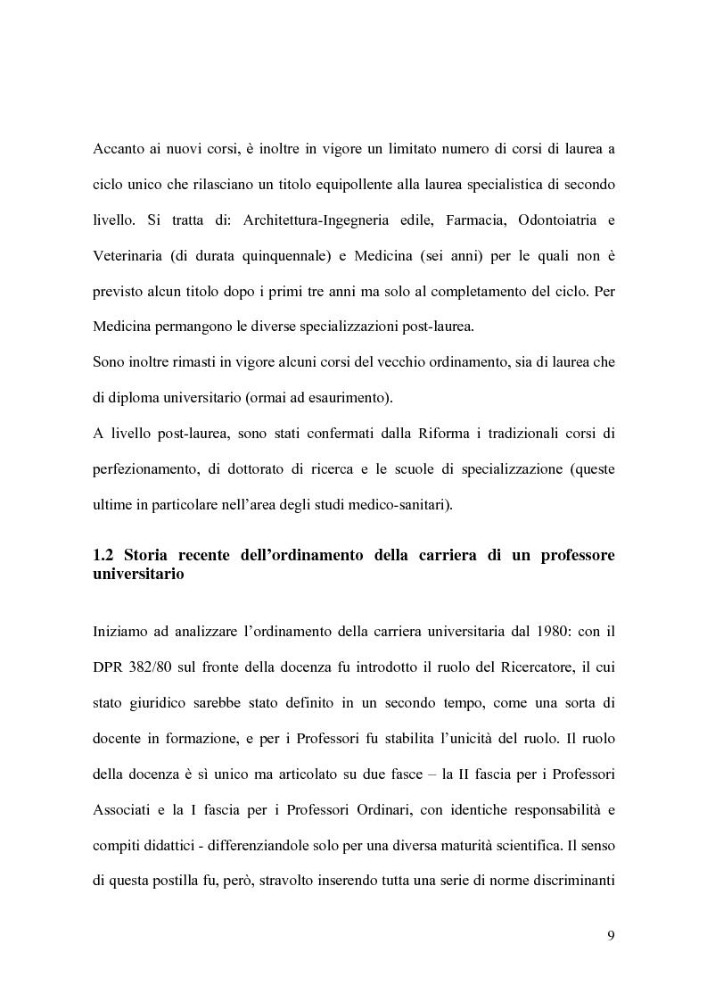 Anteprima della tesi: Il modello organizzativo dell'università italiana. Limiti, efficienza, produttività, Pagina 6