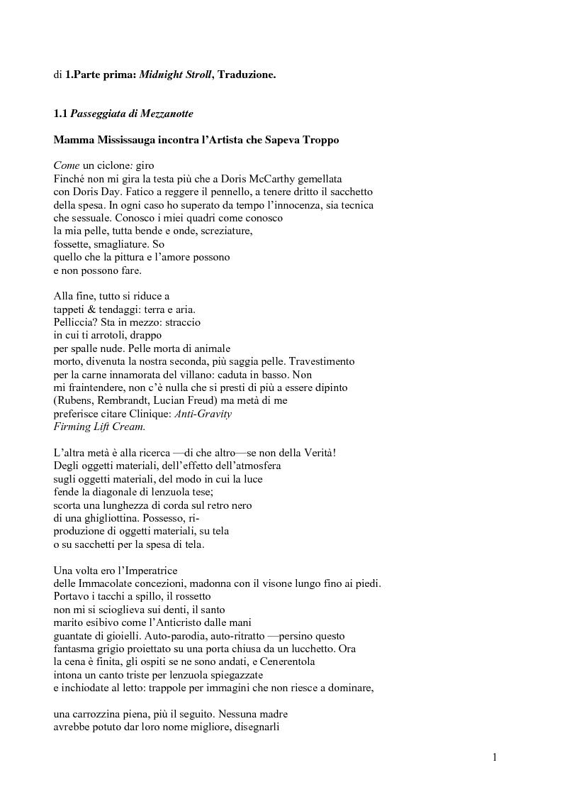 Anteprima della tesi: Janice Kulyk Keefer, Midnight Stroll: proposta di traduzione e commento, Pagina 1