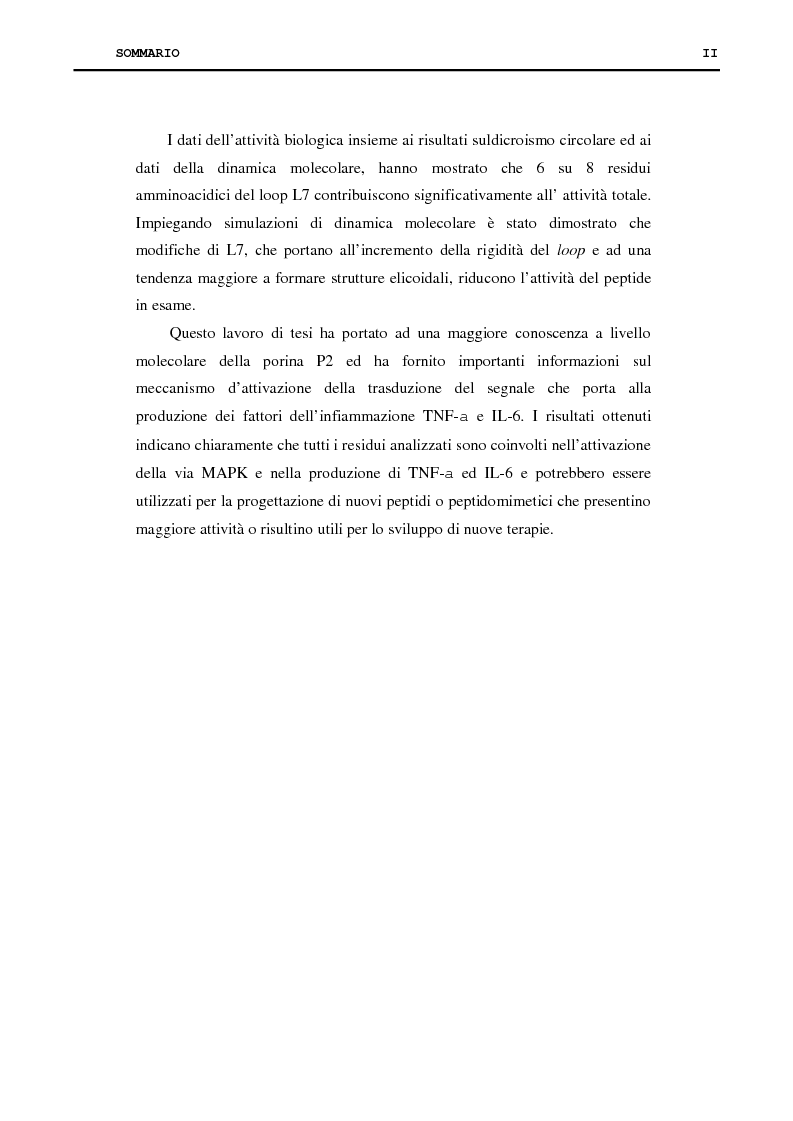 Anteprima della tesi: Proteina P2 da Haemophilus influenzae - Sintesi, caratterizzazione strutturale e attività biologica dei loop superficiali, Pagina 2