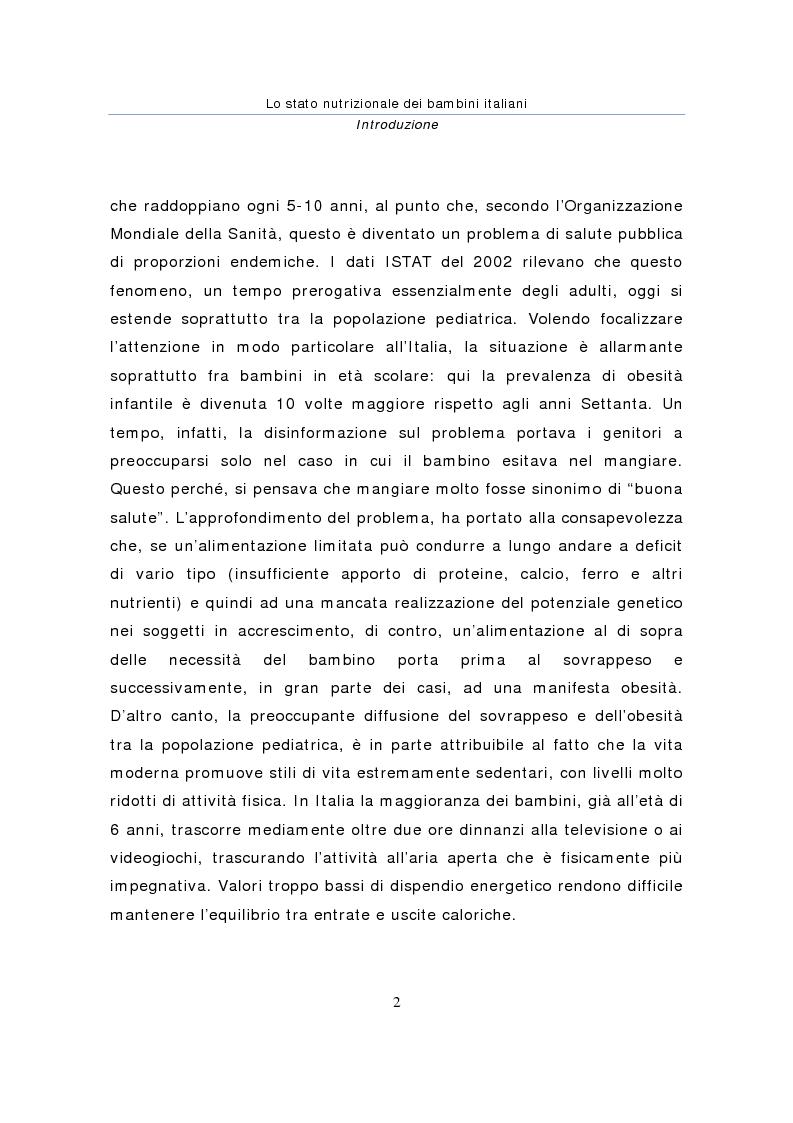 Anteprima della tesi: Stato nutrizionale dei bambini italiani, Pagina 2