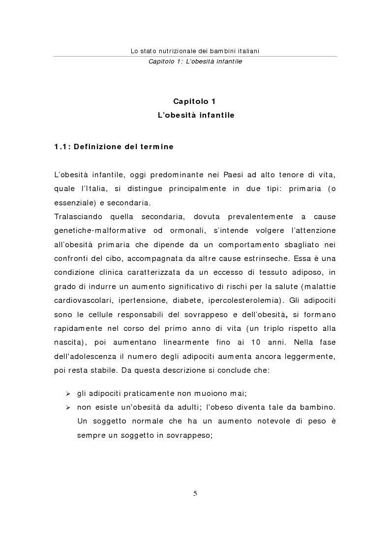 Anteprima della tesi: Stato nutrizionale dei bambini italiani, Pagina 5