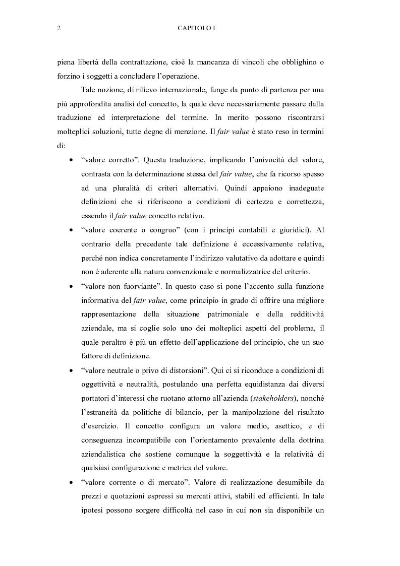 Anteprima della tesi: Il fair value nelle valutazioni di bilancio, Pagina 3