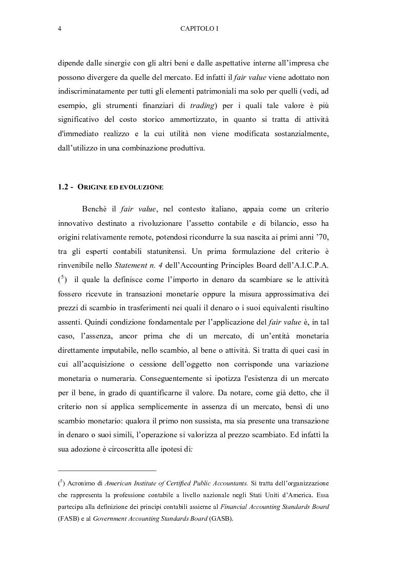 Anteprima della tesi: Il fair value nelle valutazioni di bilancio, Pagina 5