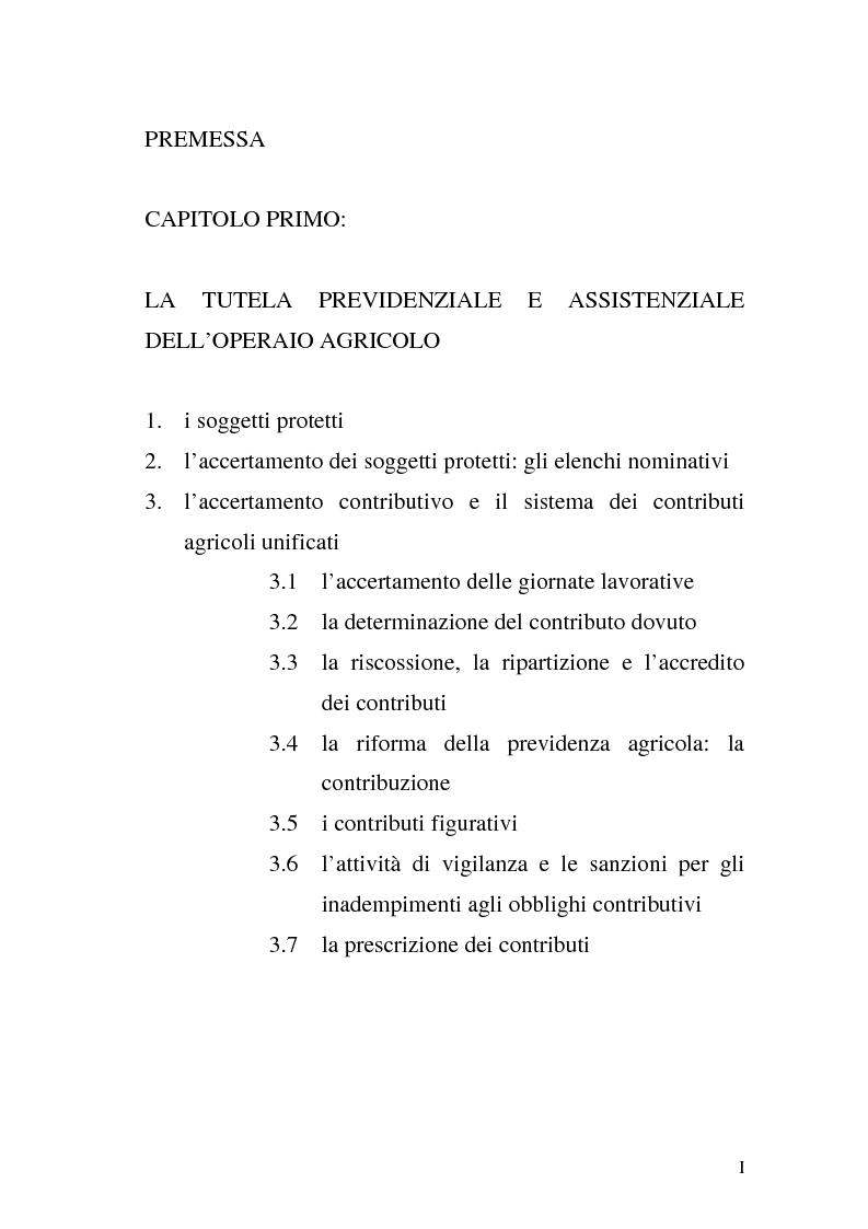 Indice della tesi: La disciplina previdenziale nel settore agricolo: gli operai agricoli a tempo determinato, Pagina 1