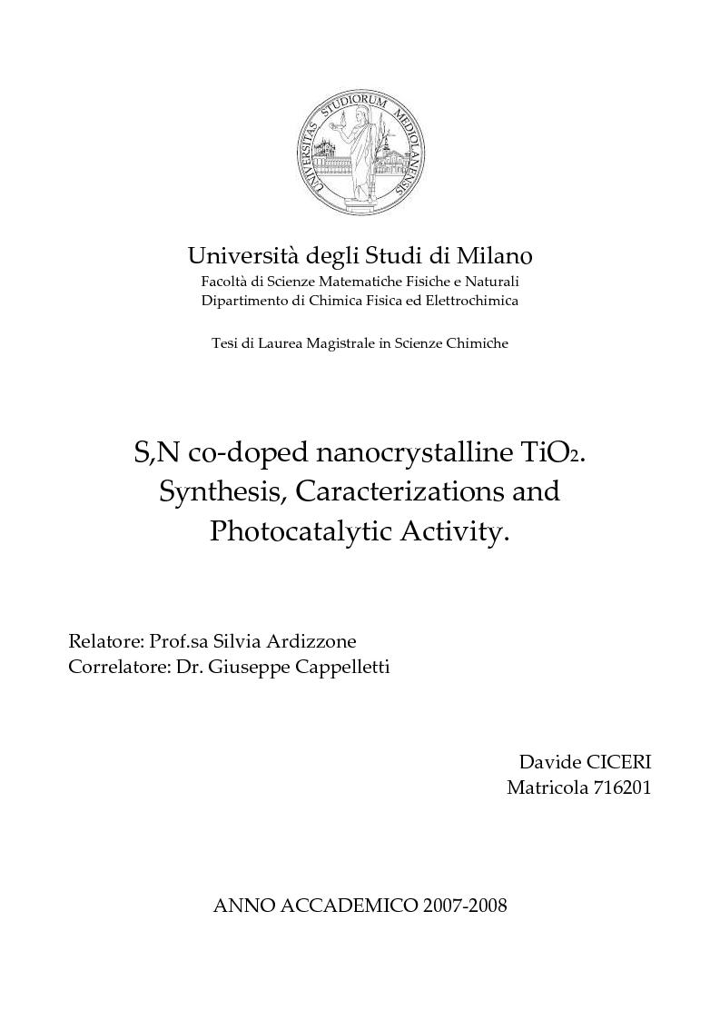 Anteprima della tesi: S,N co-doped nanocrystalline TiO2. Synthesis, Characterizations and Photocatalytic Activity., Pagina 1