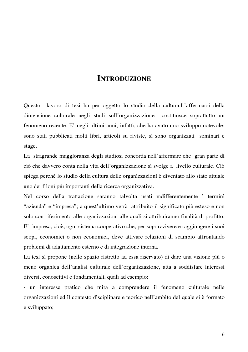 Anteprima della tesi: Lo studio della cultura organizzativa, Pagina 1