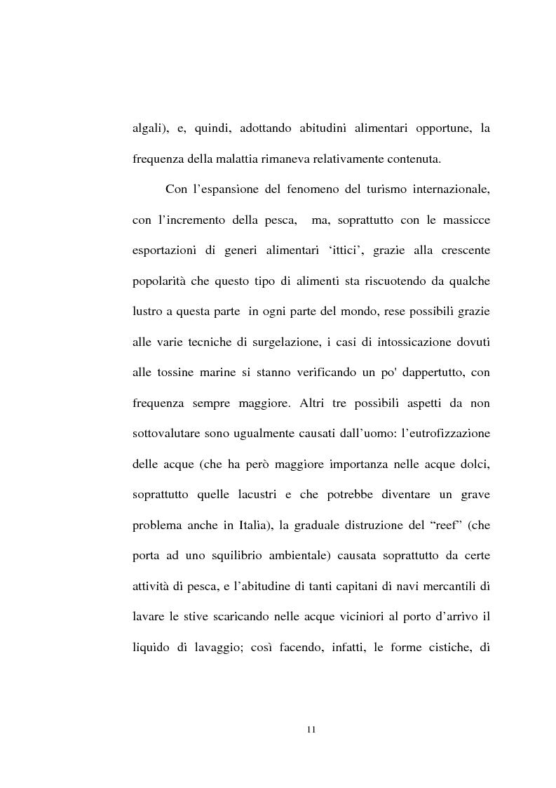 Anteprima della tesi: Intossicazioni da tossine marine. Quattro casi di sindrome da ciguatera, Pagina 11