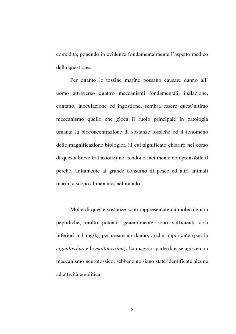 Anteprima della tesi: Intossicazioni da tossine marine. Quattro casi di sindrome da ciguatera, Pagina 5