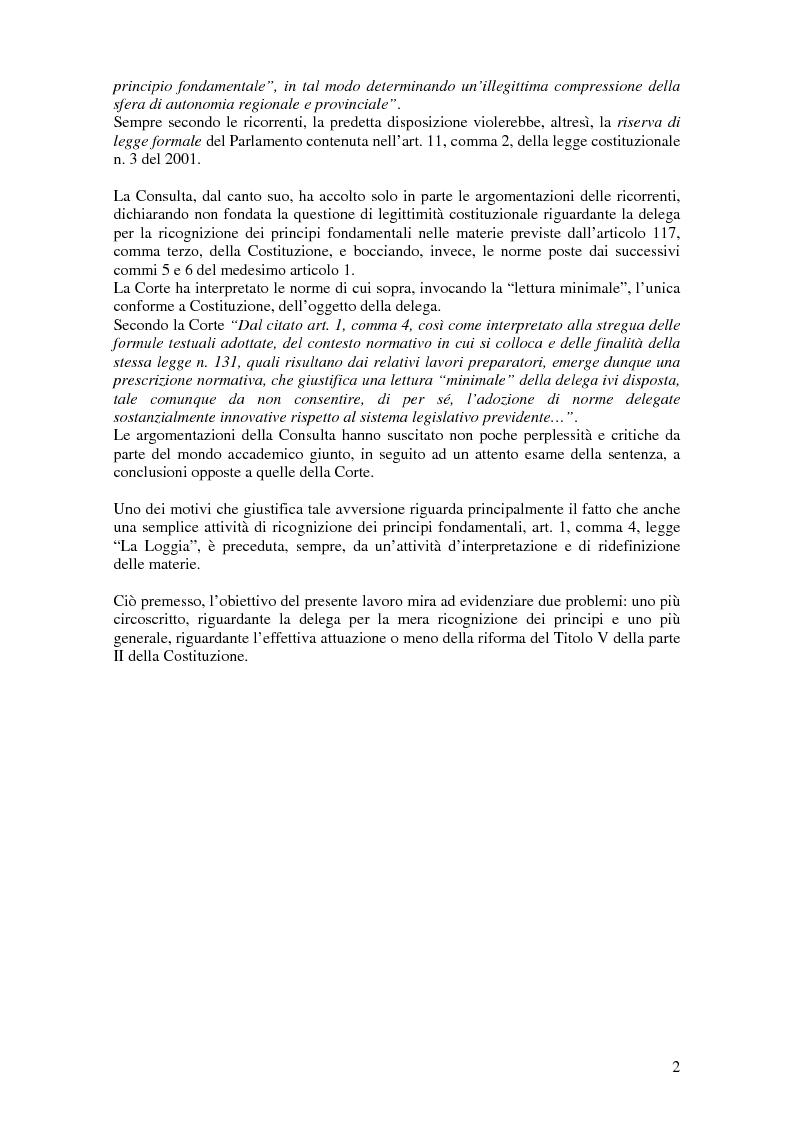 Anteprima della tesi: Delega alla ''mera ricognizione'' dei principi fondamentali, Pagina 2